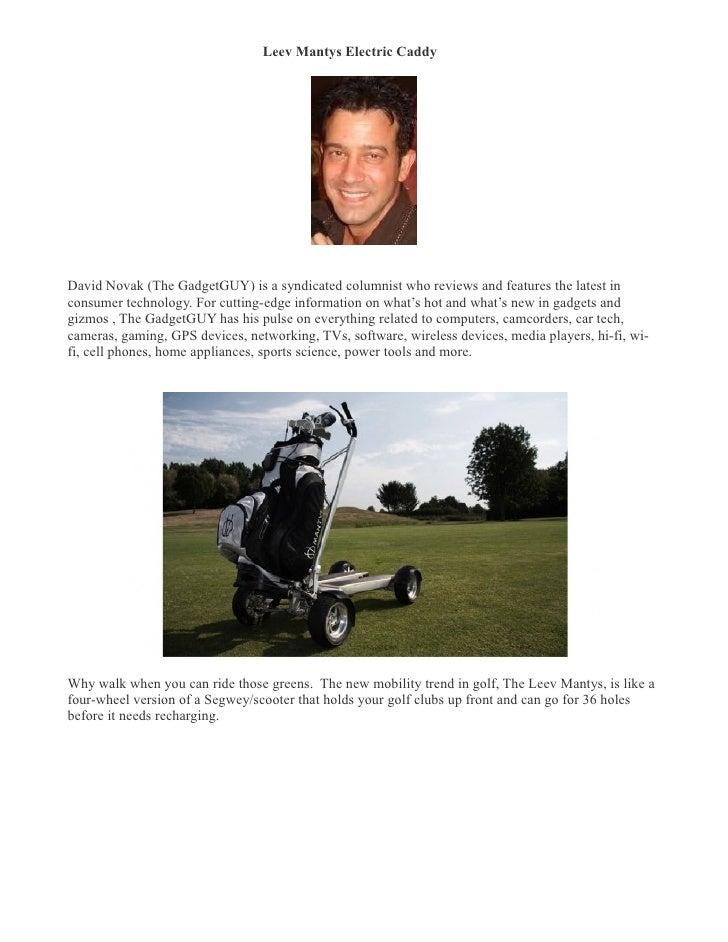 Leev Mantys Electric Caddy- David Novak (TheGadgetGUYcolumn.com)