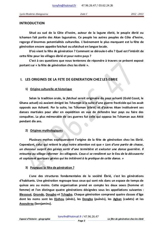 tonyfm@hotmail.fr Lycée Moderne Abengourou  47.96.26.47 / 03.62.24.26 2nde C  2012 - 2013  INTRODUCTION Situé au sud de la...