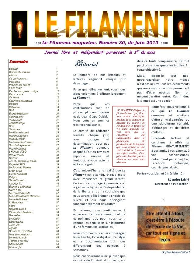 ¤¤¤ Le Filament magazine. Numéro 30, de juin 2013 ¤¤¤¤Journal libre et indépendant paraissant le 1erdu moisSommaireEditori...