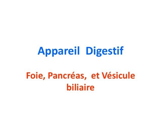 Appareil DigestifFoie, Pancréas, et Vésicule          biliaire