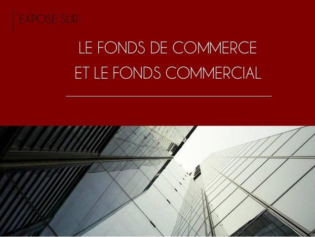 LE FONDS DE COMMERCE ET LE FONDS COMMERCIAL EXPOSE SUR :