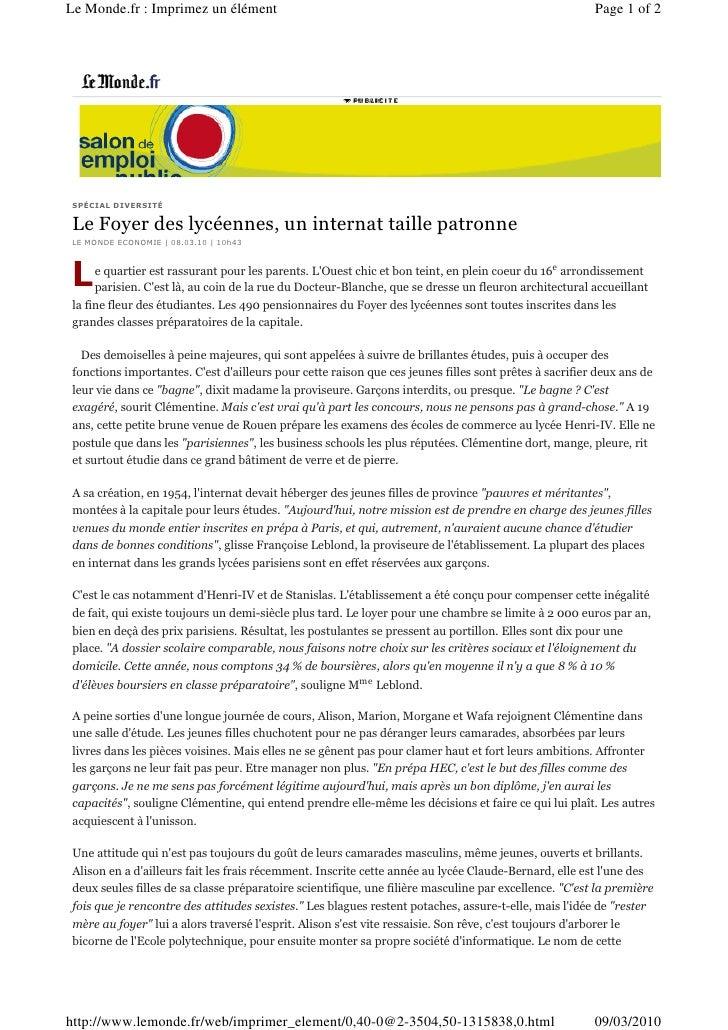 Le Monde.fr : Imprimez un élément                                                                      Page 1 of 2     SPÉ...