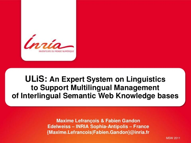 ULiS: An Expert System on Linguistics      to Support Multilingual Managementof Interlingual Semantic Web Knowledge bases ...
