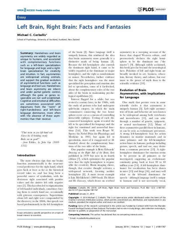 Essay  Left Brain, Right Brain: Facts and Fantasies Michael C. Corballis* School of Psychology, University of Auckland, Au...