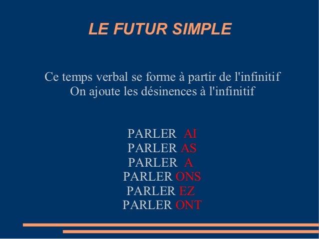 LE FUTUR SIMPLECe temps verbal se forme à partir de linfinitif     On ajoute les désinences à linfinitif                PA...