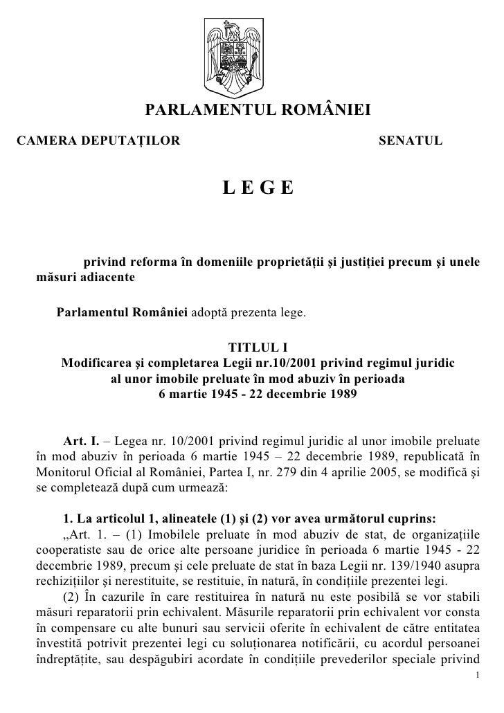 PARLAMENTUL ROMÂNIEI CAMERA DEPUTAŢILOR                                                 SENATUL                           ...