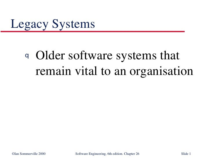 Legacy Systems <ul><li>Older software systems that remain vital to an organisation </li></ul>