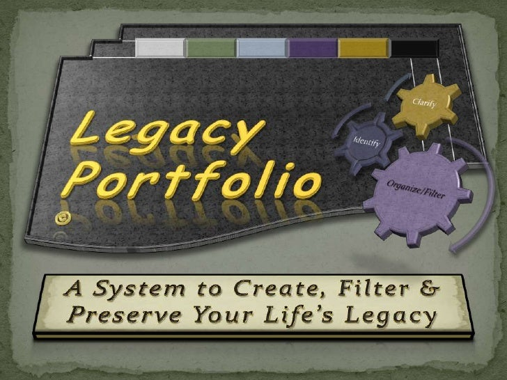 LegacyPortfolio <br />©<br />A System to Create, Filter & Preserve Your Life's Legacy<br />
