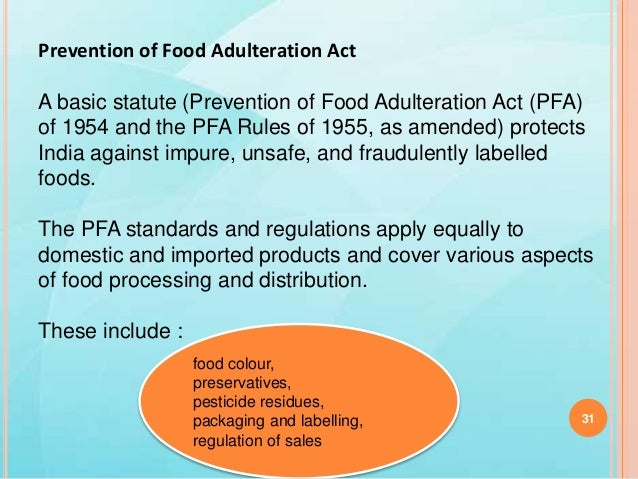 prevention of food adulteration 259 chapter x prevention of food adulteration section a the prevention of food adulteration act, 1954, and the prevention of food adulteration.