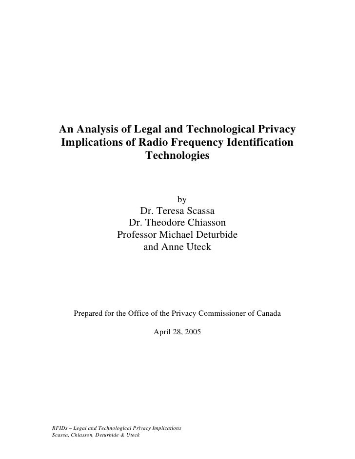 An Analysis of Legal and Technological Privacy   Implications of Radio Frequency Identification                    Technol...
