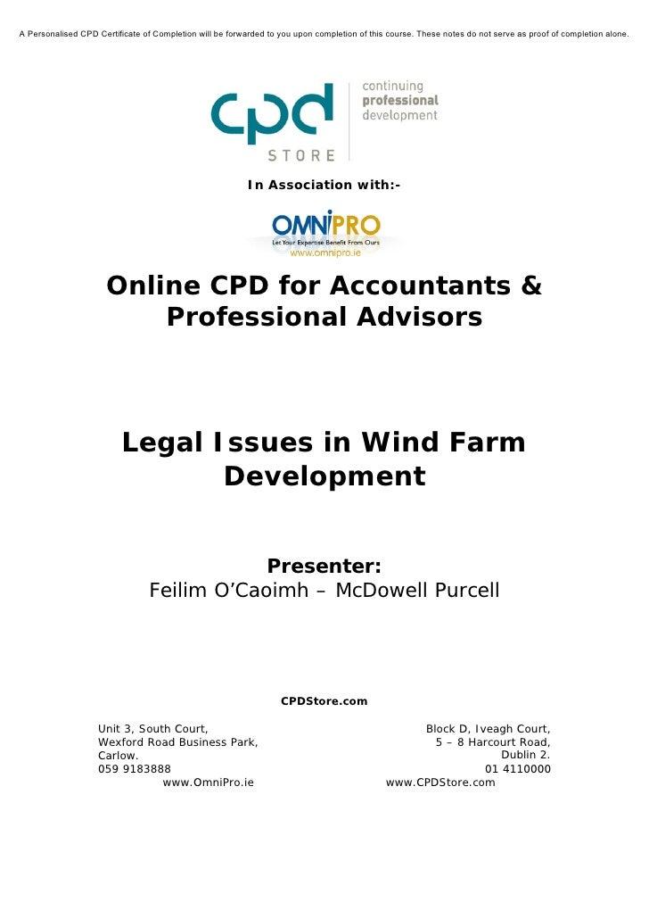 Legal Issues in Wind Farm Development
