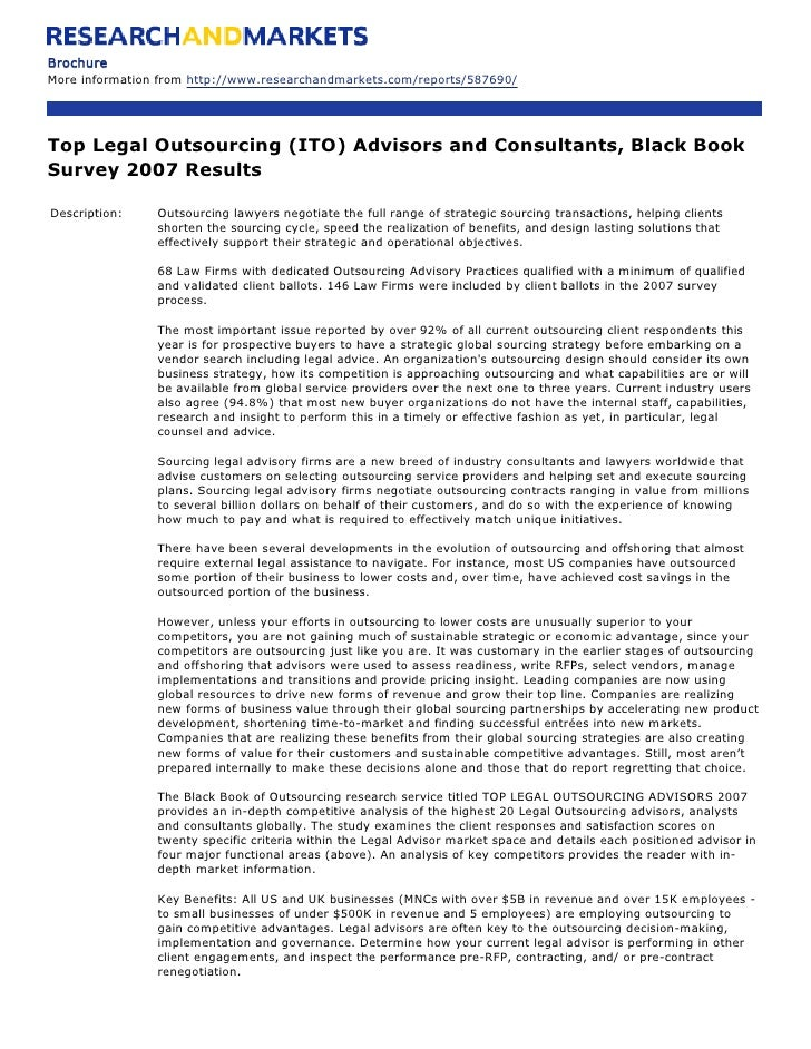 Brochure More information from http://www.researchandmarkets.com/reports/587690/     Top Legal Outsourcing (ITO) Advisors ...