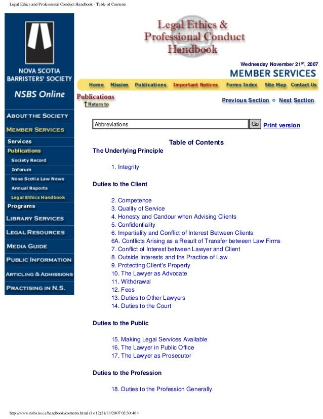 Legal Ethics and Professional Conduct Handbook - Table of Contents Wednesday November 21st, 2007 Print version Table of Co...