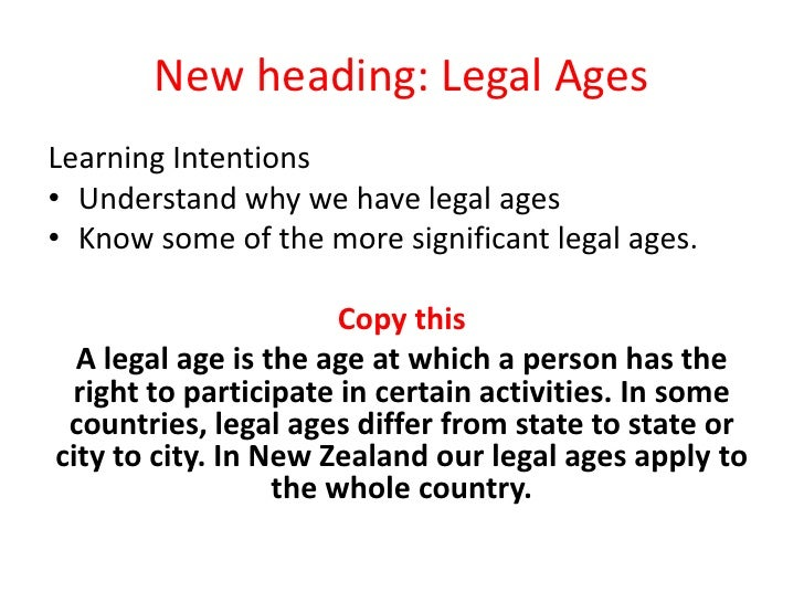 New heading: Legal Ages<br />Learning Intentions<br />Understand why we have legal ages<br />Know some of the more signifi...