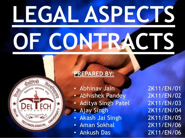 legal aspects of a contract (indian contract)