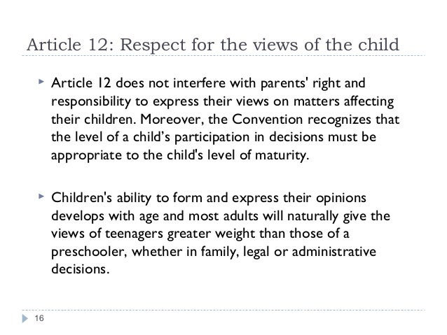 Articles Rights Respecting Article 12 Respect For The