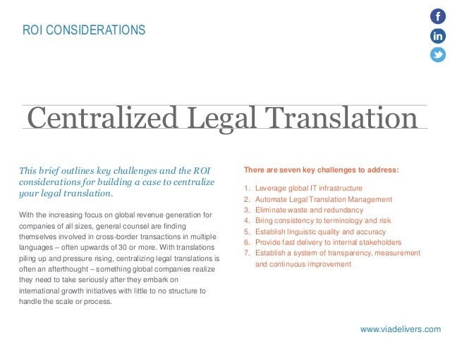 Centralized legal translation - ROI considerations