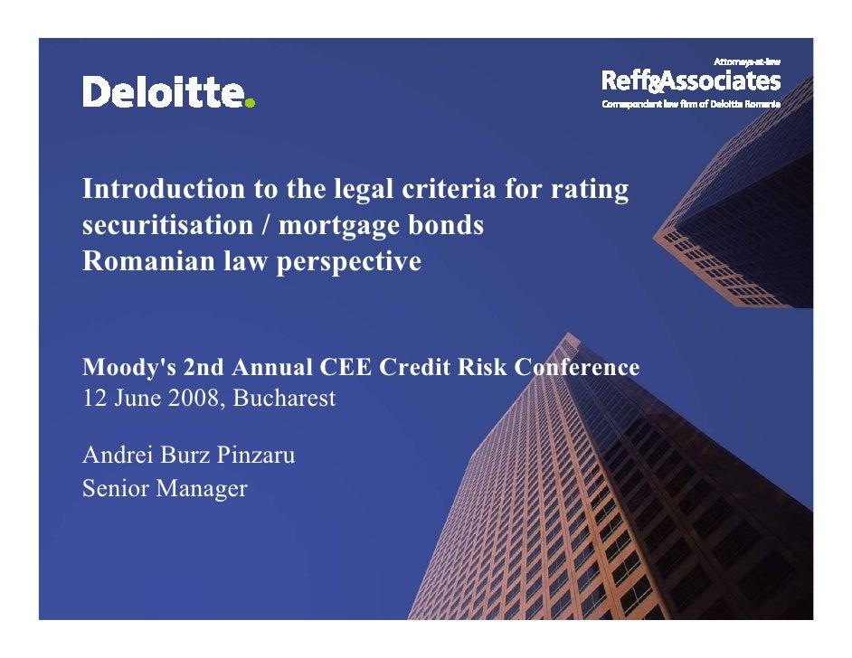 Legal Criteria For Rating securitisation instruments & Covered Bonds