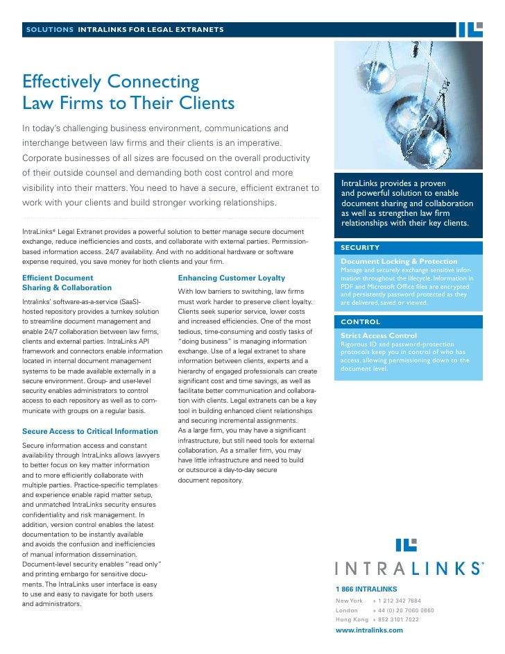 solutions intralinks for legal extranets     Effectively Connecting Law Firms to Their Clients In today's challenging busi...