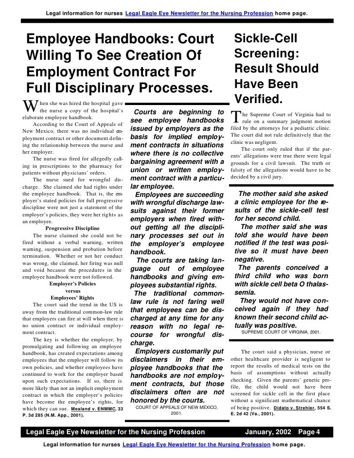 Legal Information For Nurses Legal Eagle Eye Newsletter For The
