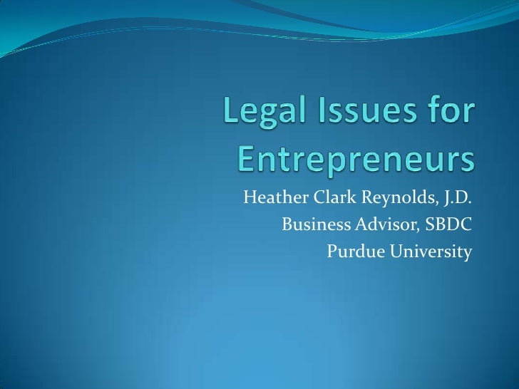Legal Issues For Entrepreneurs