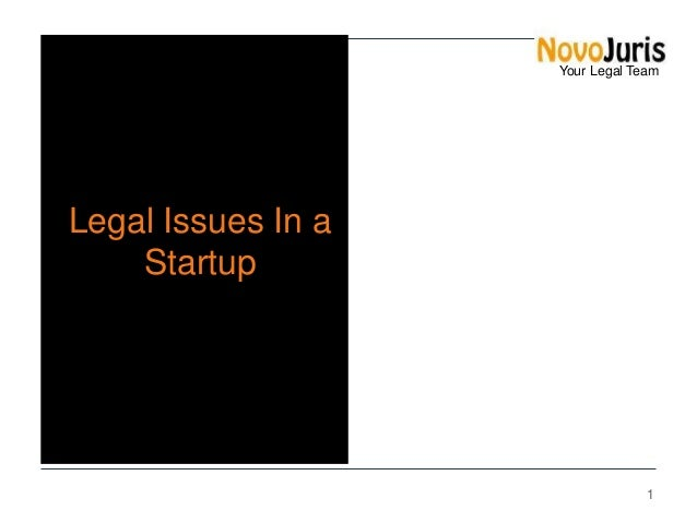 Your Legal Team  Legal Issues In a Startup  1