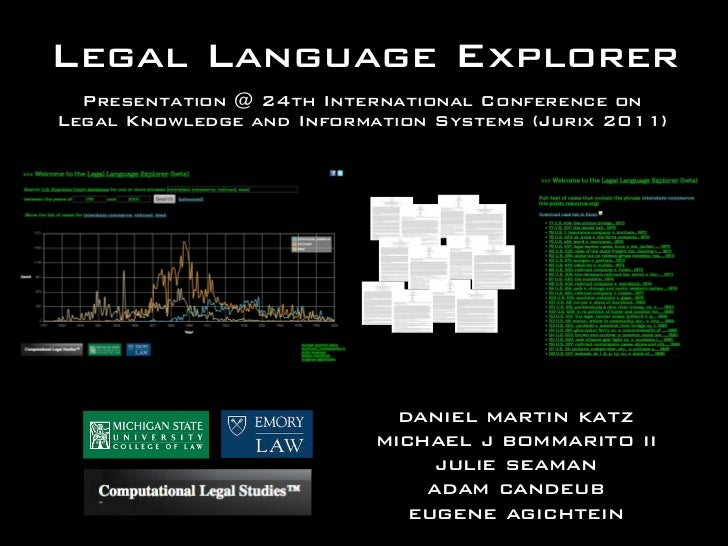Legal Language Explorer  Presentation @ 24th International Conference onLegal Knowledge and Information Systems (Jurix 201...