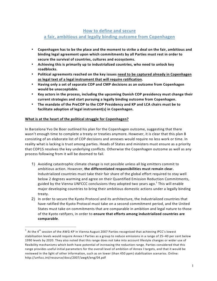 Legally Binding Outcome Copenhagen_Briefing _16 Nov09
