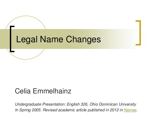 On Legal Name Changes