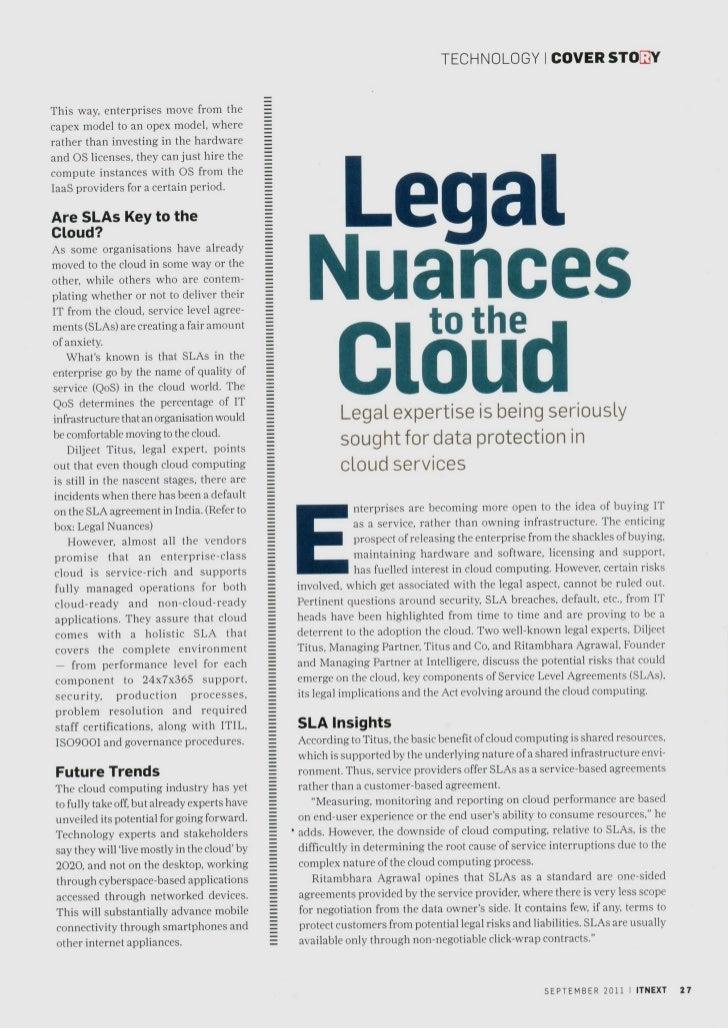 Legal nuances to the cloud