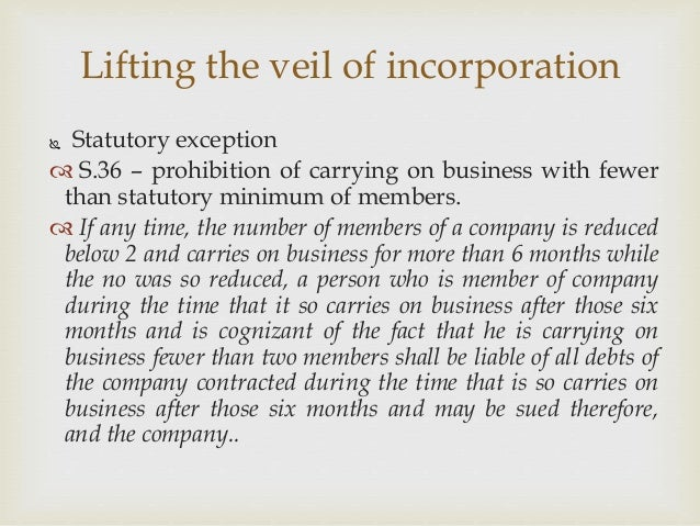 veil of incorporation
