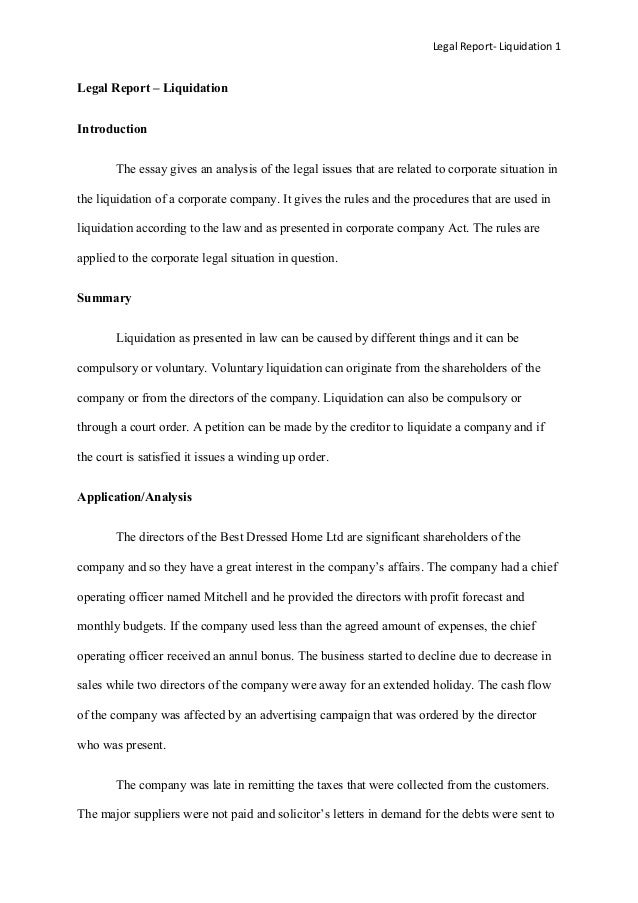 Legal Report- Liquidation 1Legal Report – LiquidationIntroduction       The essay gives an analysis of the legal issues th...