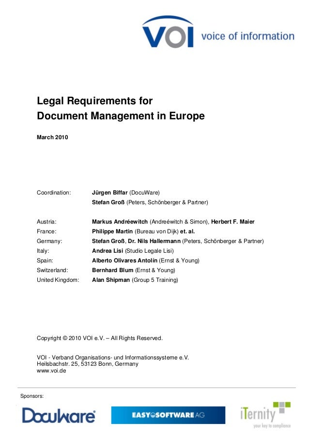 Legal requirements for document management in europe