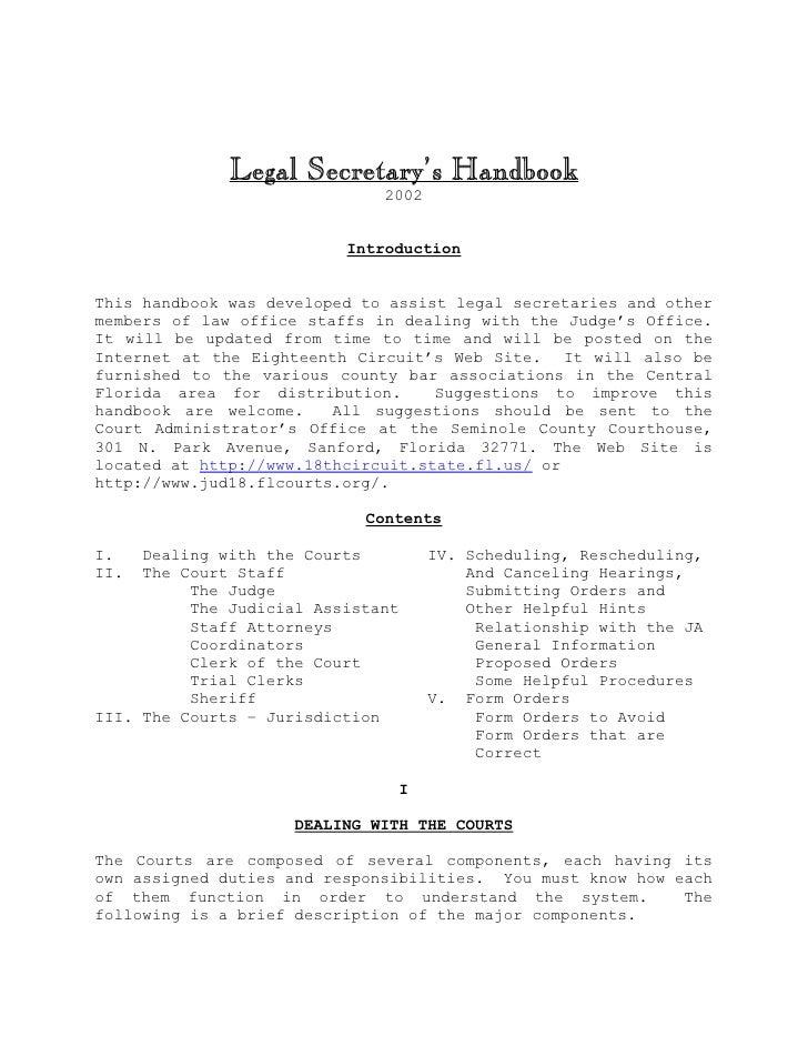 Legal Secretary's Handbook                               2002                             Introduction   This handbook was...
