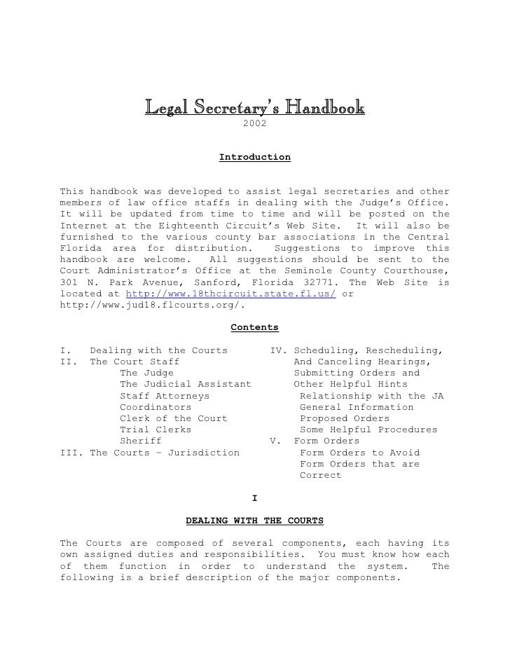 Legal Secretary Handbook