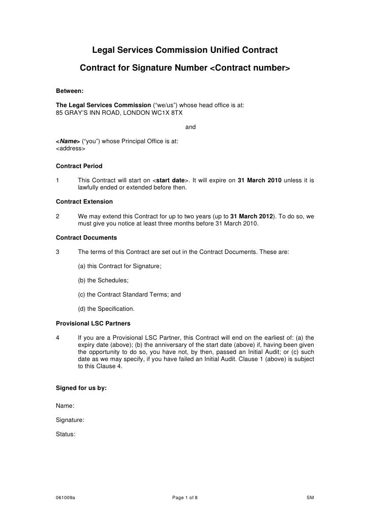 legal services commission unified contract contract for signature num