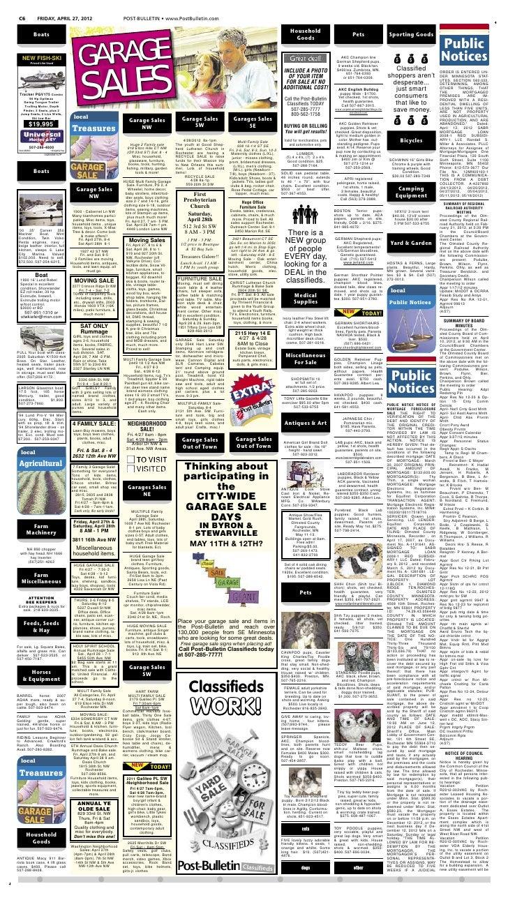 C6                 FRIDAY, APRIL 27, 2012                                      POST-BULLETIN • www.PostBulletin.com       ...