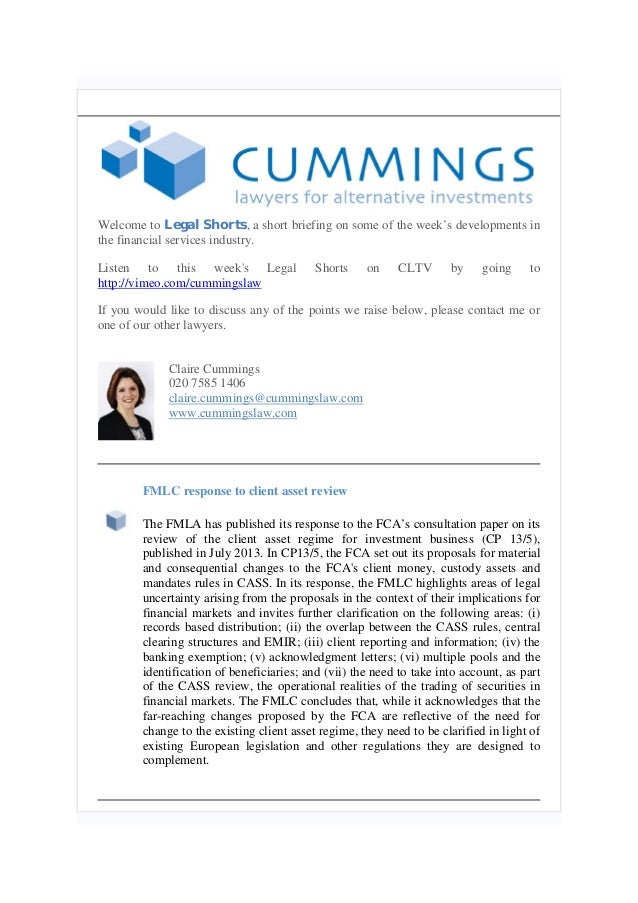 Legal Shorts 31.01.14, including FMLC response to client asset review and iosco final report on protection of client assets