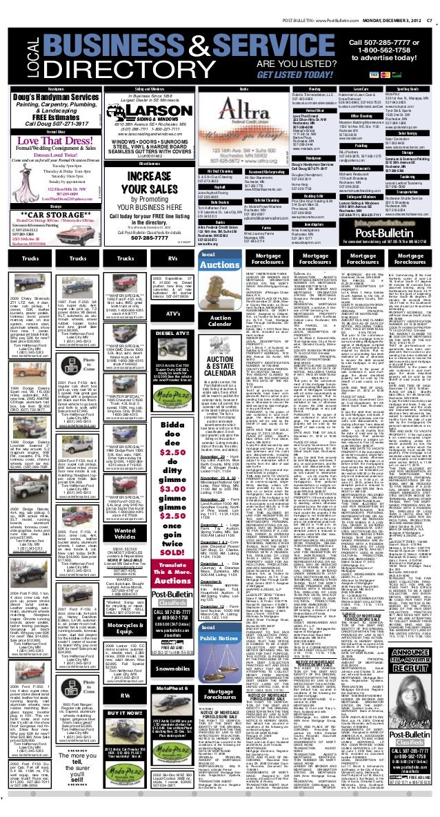 Public notices for Dec. 3, 2012