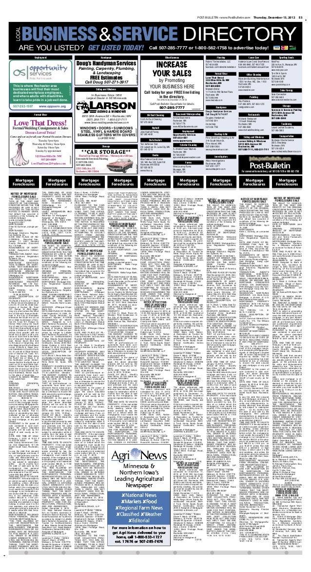 Public notices for Dec. 13, 2012