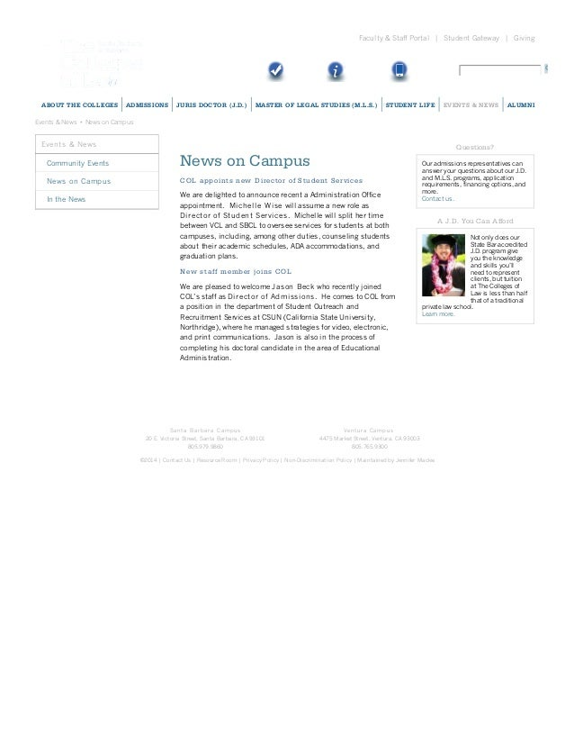 Faculty & Staff Portal | Student Gateway | Giving  ABOUT T HE C OL L EGES  ADMI SSI ON S  JUR I S DOC T OR ( J.D.)  MAST E...