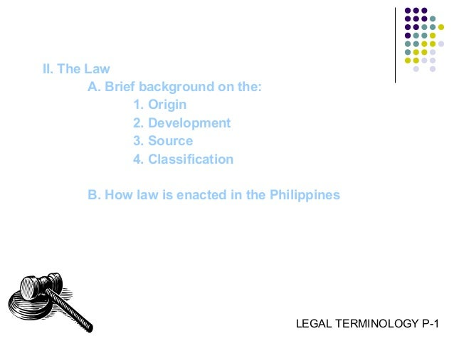 What is the etymology of the legal term