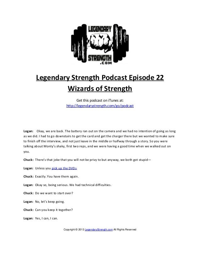 Legendary Strength Podcast Episode 22                 Wizards of Strength                                     Get this pod...