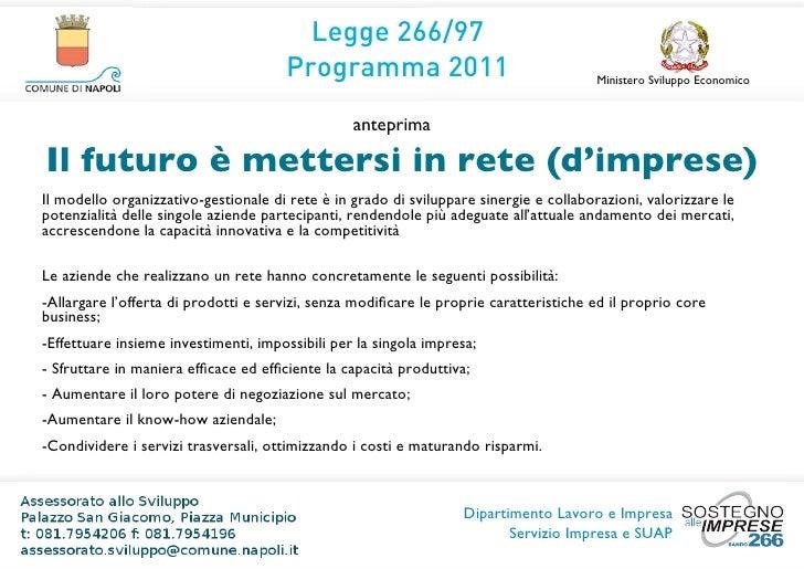 Legge 266/97                                      Programma 2011                                    Ministero Sviluppo Eco...