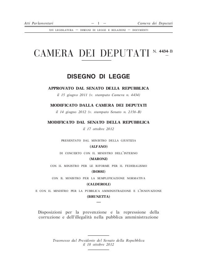 """Legge anticorruzione """"Disposizioni per la prevenzione e la repressione della corruzione e dell'illegalità nella pubblica amministrazione"""""""