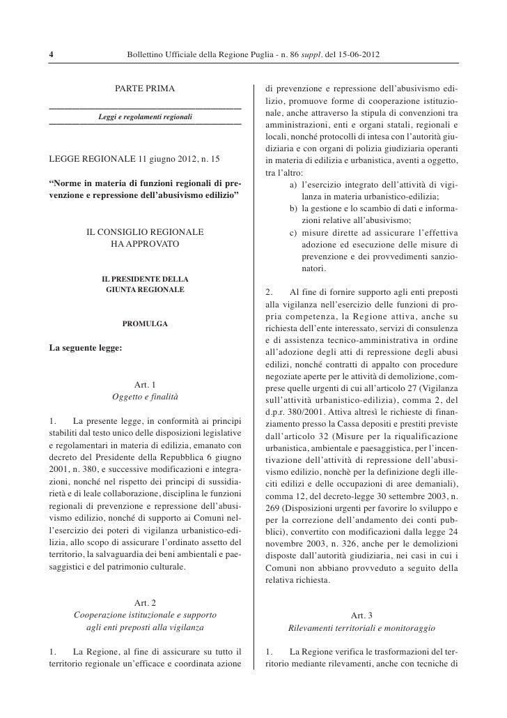4                     Bollettino Ufficiale della Regione Puglia - n. 86 suppl. del 15-06-2012                   PARTE PRIM...