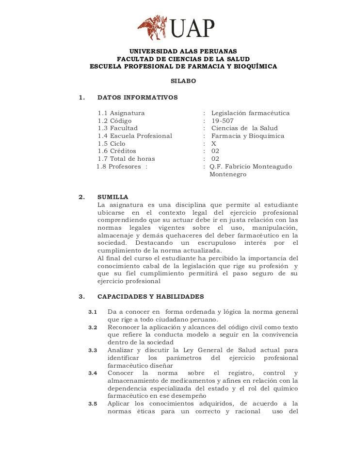 UNIVERSIDAD ALAS PERUANAS           FACULTAD DE CIENCIAS DE LA SALUD     ESCUELA PROFESIONAL DE FARMACIA Y BIOQUÍMICA     ...