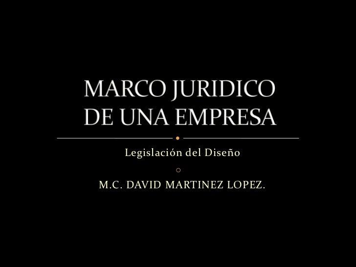 Legislación del Diseño               oVM.C. DAVID MARTINEZ LOPEZ.