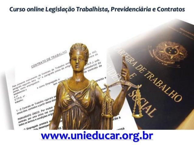 Curso online Legislação Trabalhista, Previdenciária e Contratos