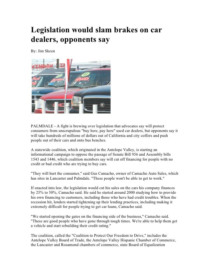 Legislation would slam brakes on car dealers